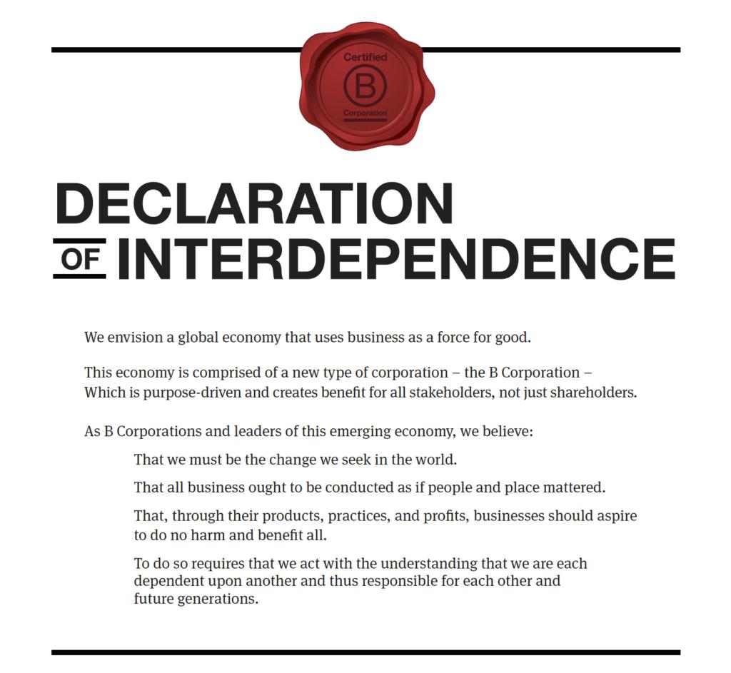 dichiarazione di interdipendenza B Corp Organizzare italia